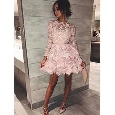 A-Line/Princess Short/Mini Homecoming Dresses Scoop Neck Lace Long Sleeves