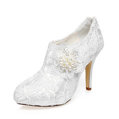 Women's Closed Toe Pumps Stiletto Heel Satin Wedding Shoes