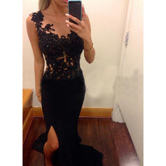 Chiffon Sleeveless Sheath/Column Prom Dresses Scoop Neck Appliques Lace Sweep Train