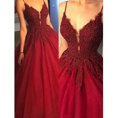 Ball-Gown V-neck Satin Sleeveless Sweep Train Beading Appliques Lace Evening Dresses