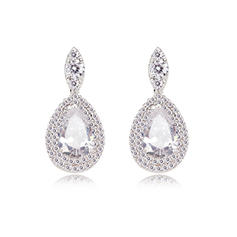 Earrings Zircon/Platinum Plated Pierced Ladies' Charming Wedding & Party Jewelry