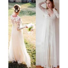 Glamorous Floor-Length Empire Wedding Dresses Deep V Neck Chiffon Long Sleeves