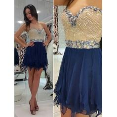 A-Line/Princess Sweetheart Short/Mini Chiffon Homecoming Dresses