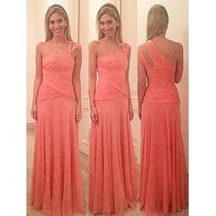 Sheath/Column One-Shoulder Floor-Length Bridesmaid Dresses With Ruffle