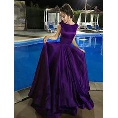 Scoop Neck A-Line/Princess - Satin Modern Prom Dresses
