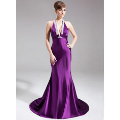Trumpet/Mermaid Halter Court Train Evening Dresses With Ruffle Beading (017020662)