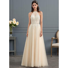 A-Line/Princess High Neck Sweep Train Tulle Wedding Dress With Ruffle Beading (002153454)