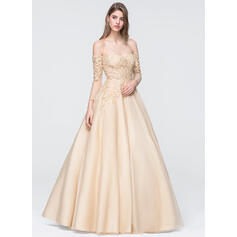 Ball-Gown Off-the-Shoulder Floor-Length Organza Prom Dresses With Beading Sequins (018093801)