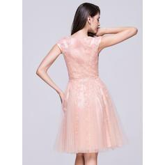 Col rond Sans manches Tulle Luxueux Robes de soirée étudiante (022214039)