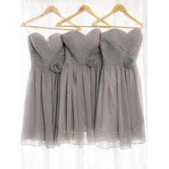 A-Line/Princess Chiffon Bridesmaid Dresses Ruffle Flower(s) Sweetheart Sleeveless Knee-Length