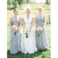 A-Line/Princess Chiffon Bridesmaid Dresses Ruffle Strapless Sleeveless Floor-Length (007212241)
