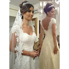 Magnificent Court Train A-Line/Princess Wedding Dresses Sweetheart Tulle Lace Sleeveless