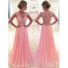 Chiffon Sleeveless A-Line/Princess Prom Dresses V-neck Lace Sweep Train
