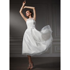 Gorgeous Scoop A-Line/Princess Wedding Dresses Tea-Length Satin Sleeveless