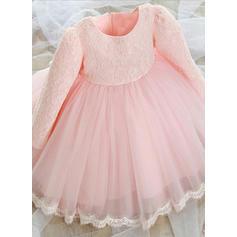 Corte A/Princesa Hasta la rodilla Vestidos de Niña Florista - mezcla de algodón Manga larga Escote redondo con Encaje (010087483)
