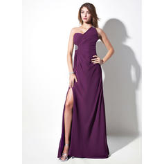 Sheath/Column Chiffon One-Shoulder Sleeveless Evening Dresses (017016057)