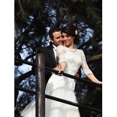 General Grande Corte trompeta/sirena Tul Chic Vestidos de novia con Medias mangas (002217905)