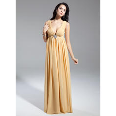 Empire Chiffon Sleeveless V-neck Floor-Length Zipper Up Mother of the Bride Dresses (008211369)