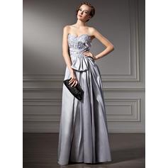 A-Line/Princess Taffeta Prom Dresses Modern Floor-Length Sweetheart Sleeveless