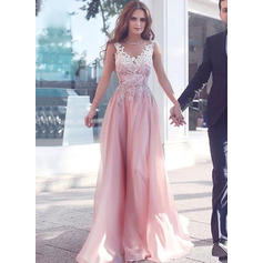 A-Line/Princess Sweep Train Prom Dresses V-neck Chiffon Sleeveless (018145500)