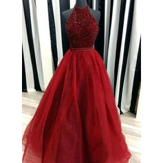 Ball-Gown High Neck Floor-Length Evening Dresses With Beading
