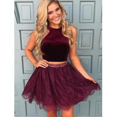 A-Line/Princess Short/Mini Homecoming Dresses Scoop Neck Lace Sleeveless