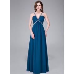 Hasta el suelo Gasa Corte imperial Escote en V Vestidos de baile de promoción (018041049)