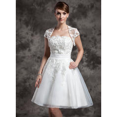 Delicate Strapless A-Line/Princess Wedding Dresses Knee-Length Organza Sleeveless (002211095)