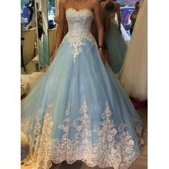 Strapless Floor-Length Sweetheart Tulle Prom Dresses (018218124)