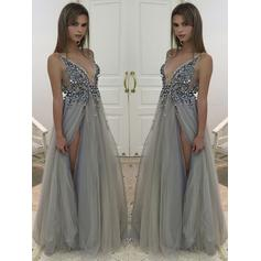 Gorgeous Tulle Evening Dresses A-Line/Princess Floor-Length V-neck Sleeveless