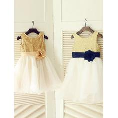 Scoop Neck A-Line/Princess Flower Girl Dresses Tulle/Sequined Flower(s) Sleeveless Knee-length (010211964)