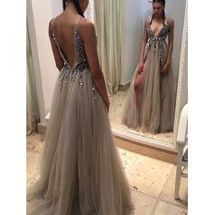 Tulle Sleeveless A-Line/Princess Prom Dresses V-neck Beading Split Front Sweep Train