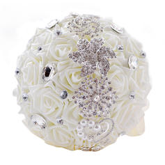 "Bridal Bouquets/Bridesmaid Bouquets Round Wedding Satin/PE/Rhinestone 10.24""(Approx.26cm) Wedding Flowers"