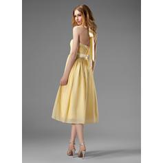 1070503243 A-Line Princess Chiffon Bridesmaid Dresses Ruffle Bow(s) Halter ...
