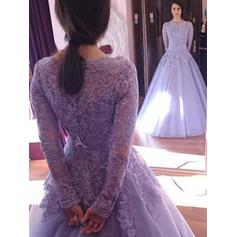 Floor-Length Tulle With Ball-Gown Prom Dresses