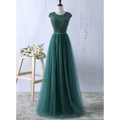 Tulle Sleeveless A-Line/Princess Prom Dresses Scoop Neck Sash Floor-Length