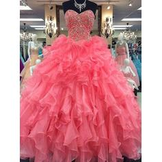 Organza Sleeveless Ball-Gown Prom Dresses Sweetheart Beading Floor-Length