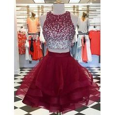 Ruffle Beading Scoop Neck Organza A-Line/Princess Homecoming Dresses (022219330)
