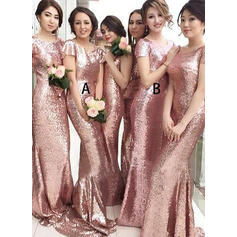 Sequined Short Sleeves Sheath/Column Bridesmaid Dresses Scoop Neck Sweep Train