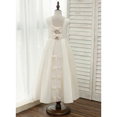 A-Line/Princess Ankle-length Flower Girl Dress - Satin Sleeveless Scoop Neck With Bow(s)/Rhinestone/Back Hole (010141203)