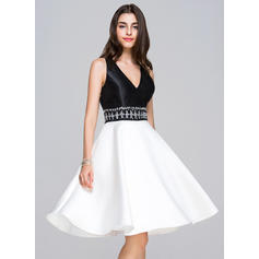 V-neck Sleeveless Satin 2019 New Homecoming Dresses