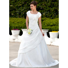 A-Line/Princess Taffeta Short Sleeves Square Court Train Wedding Dresses (002001626)