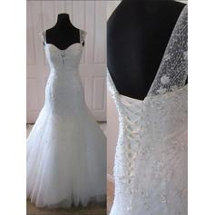 Court Train Trumpet/Mermaid Glamorous Tulle Wedding Dresses