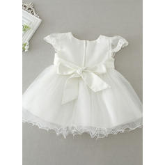 A-Line/Princess Scoop Neck Ankle-length Tulle Christening Gowns With Beading Flower(s) (2001216844)