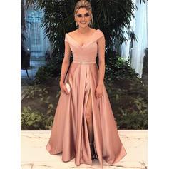 A-Line/Princess V-neck Floor-Length Evening Dress With Beading Split Front