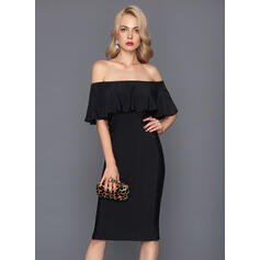 Sheath/Column Off-the-Shoulder Knee-Length Jersey Cocktail Dress (016117256)