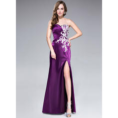 Charmeuse Sleeveless Sweep Train - Trumpet/Mermaid Prom Dresses (018041114)