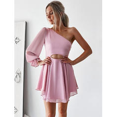 A-Line/Princess One-Shoulder Chiffon Long Sleeves Short/Mini Ruffle Cocktail Dresses