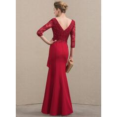 Vestidos princesa/ Formato A Decote V Longos Renda Crepe Elástico Vestido para a mãe da noiva com Beading lantejoulas Babados em cascata (008152122)
