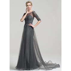 A-Line/Princess Off-the-Shoulder Court Train Tulle Evening Dress (017102495)